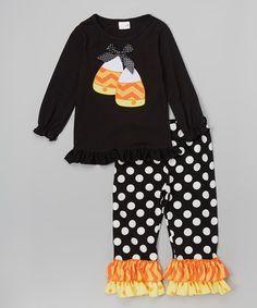Look at this #zulilyfind! Black Candy Corn Top Set - Infant, Toddler & Girls #zulilyfinds