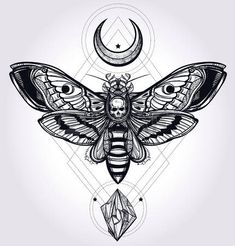 Deaths head hawk moth with moons and stones. Design tattoo art. Isolated vector illustration. Trendy Vintage style element. Dark romance, philosophy, spirituality, occultism, alchemy, death, magic. photo