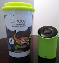 Bluetooth Speaker with pop culture cup to hold it.