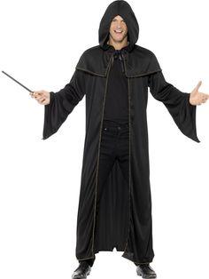 Wizard Cloak, Adult, Black, in Display Bag Mens Halloween Fancy Dress, Fancy Black Dress, Bag Display, Cloak, Raincoat, Cosplay, Unisex, Model, Sweaters