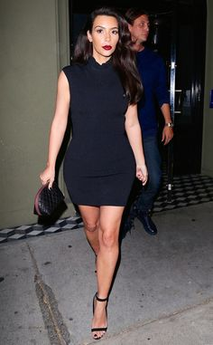 Kim Kardashian steps out in a sexy LBD with a pop of red lipstick. So fab!