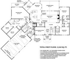 Basemen floor plan with in-law suite. LOVE the huge walk in closets and the walk in pantry! Ranch House Plans, Craftsman House Plans, Dream House Plans, House Floor Plans, Craftsman Ranch, Craftsman Homes, Craftsman Style, Flex Room, Thing 1