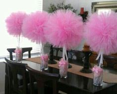 """Create a """"wow factor"""" for your special event, with these darling Tulle Topiary Centerpieces! The perfect decoration statement piece for the budget friendly host! The Guest of Honor, family and guests, will sure be impressed! Shower Party, Baby Shower Parties, Baby Shower Themes, Baby Shower Gifts, Shower Ideas, Baby Showers, Bridal Showers, Topiary Centerpieces, Baby Shower Centerpieces"""