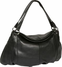Derek Alexander Black This classy purse has a unique shape and makes for a great evening bag Material: Top Grain Cowhide with a Soft Pebble Finish Leather, Handbags, Hobos, Shoulder Bags, Derek Alexander, Double Handles, Leather Handbags