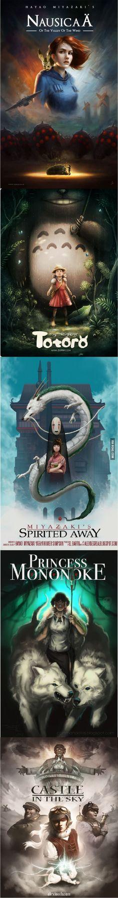 Realistic Miyazaki Posters