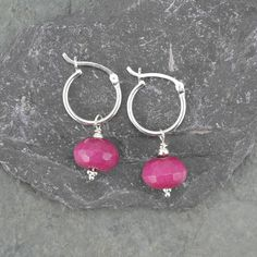 Pink Jade hoop earrings in sterling silver hot pink fuchsia gemstone drop October birthstone unusual earrings perfect Xmas gift for her by DecadentDragonfly on Etsy
