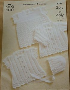 Babies Matinee Set 3Ply or 4Ply Knitting Pattern