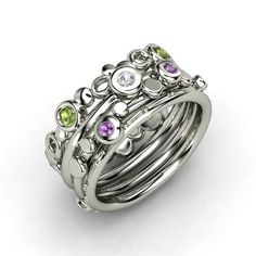 Round White Sapphire Sterling Silver Ring with Amethyst & Green Tourmaline | Bubble Stacking Rings, Set of Four | Gemvara
