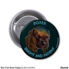 Blue Cute Boxer Puppy 2 Inch Round Button