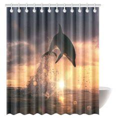 Achetez GCKG Marine Nautical Animals Fish Shower Curtain, Beautiful Sunset Time at the Sea and Playful Dolphin Leaping Water with Splashes Bathroom Set with Hooks, 66x72 Inches à Walmart Canada. Magasinez plus de Rideaux de douche disponible en ligne à Walmart.ca.
