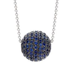 You will go to the ball! A fun sapphire ball pendant, with vibrant round cut sapphires of 2.90cts total, mounted in a fine 18ct white gold black rhodium setting. Available with matching earrings.