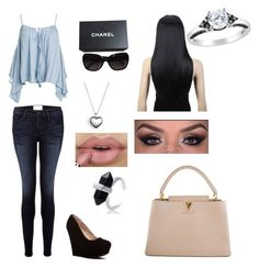 """""""Untitled #219"""" by darkfire9 on Polyvore featuring Sans Souci, Frame Denim, Chanel, Pandora, Amour and Louis Vuitton"""