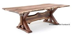 Natural Live Edge Dining Table with Trestle Base Available in Custom Sizes by Woodland Creek Furniture.