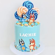 We had our Lachies party yesterday and this was his cake! 🎉🧡💙 We're all Bluey mad in this house 🙌🏼 . Birthday Cakes For Men, Teen Boy Birthday Cake, Birthday Cake For Father, Toddler Birthday Cakes, Creative Birthday Cakes, Funny Birthday Cakes, Beautiful Birthday Cakes, Homemade Birthday Cakes, 5th Birthday