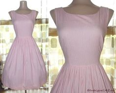 $59.99- Vintage 50's Pink Striped Cotton Full Sweep Day Dress SWING ROCKABILLY 36BX31W