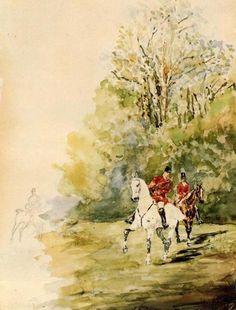 Henri de Toulouse-Lautrec watercolor foxhunting print.