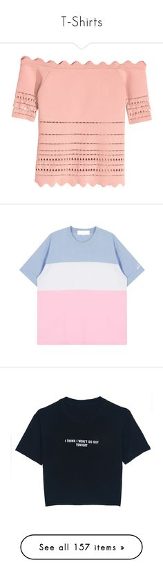 """""""T-Shirts"""" by pmatys ❤ liked on Polyvore featuring tops, red off shoulder top, harness top, red off the shoulder top, off shoulder tops, red top, t-shirts, shirts, clothing - ss tops and pastel color block shirt"""