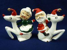 Vintage Mr  Santa Claus Riding Rudolph Reindeer Salt and Pepper Shakers
