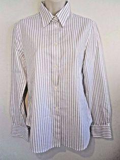 Loro Piana Women's Size 44 - Us 14 Striped Button Down Long Sleeve Cotton Shirt  #LoroPiana #ButtonDownShirt #Career