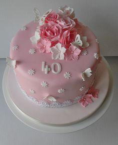 Pink 40th Birthday Cake | by Sugar Ruffles