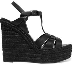 Saint Laurent - Tribute Leather Espadrille Wedge Sandals - Black - IT Black Espadrille Sandals, Black Platform Sandals, Black Wedge Sandals, Black Leather Sandals, Strap Sandals, Wedge Shoes, Platform Wedge, Summer Sandals, Shoes Sandals