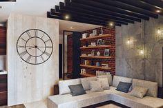 http://heshi-design.com/portfolio.html Гостиная-кухня в стиле лофт