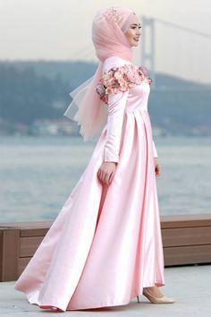 Tuay - Çiçek Detaylı Pudra Tesettür Abiye Elbise 2388PD