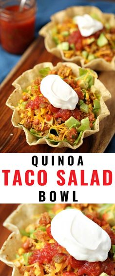 Anytime I can satisfy my cravings for tacos in a way that is healthy I am ecstatic. Quinoa Taco Salad is one of my go-to meals. I prepare the quinoa as part of my weekly meal prep, which makes this gluten-free dish super easy to put together. Quinoa Recipes Easy, Quinoa Salad Recipes, Vegetarian Recipes, Healthy Recipes, Quinoa Tacos, Taco Salad Bowls, Vegetable Seasoning, Mexican Food Recipes, Dinner Recipes