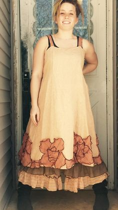 Peachy Linen Flared Petal Dress 2X Plus by sarahclemensclothing