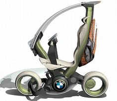 Futuristic Scooter by BMW. The CitySailer concept looks familiar to BMW's Solo Scooter, and that is probably the effect designer Christopher Kuh wanted. This two-wheeler powered by fuel cells is environmentally friendly, the concept includes a seatbelt and an airbag. For parking the vehicle, the rider needs to push the steering levers forward parallel to the frame. This disposes the seat column and clears it for parking.