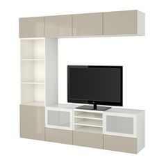 "BESTÅ TV storage combination/glass doors - white/Selsviken high gloss/beige frosted glass, drawer runner, soft-closing, 94 1/2x15 3/4x90 1/2 "" - IKEA"