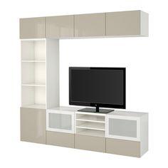 BESTÅ Tv-opbergcombi/vitrinedeuren - wit/Selsviken hoogglans/beige frosted glas, laderail, druk-en-open - IKEA
