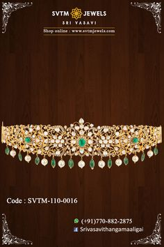 yellow gold oddiyanam or waist-belt set with 3 oval emeralds and 398 valanda or uncut diamonds. Hung with pearls and emerald beads. Real Gold Jewelry, Emerald Jewelry, Trendy Jewelry, Vaddanam Designs, Wedding Jewellery Inspiration, Waist Jewelry, Pearl Necklace Designs, Emeralds, Pearls