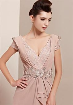 Sexy Low V-neck Backless Long Chiffon Evening Dress