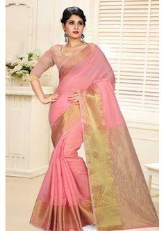 couleur pêche soie coton sari, - 49,00 €, #SariIndien #SariPasCher #RobeIndouMariage #Shopkund