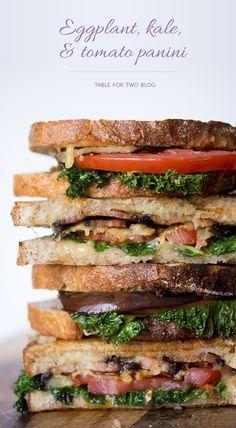 Eggplant, Kale, Tomato, & Bacon Panini   tablefortwoblog.com #panini #eggplant #kale #tomato #bacon