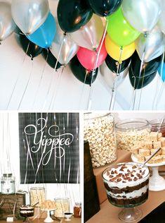 Yippee Gender Reveal Dessert Table from PagingSupermom.com #genderreveal #baby #babyshower