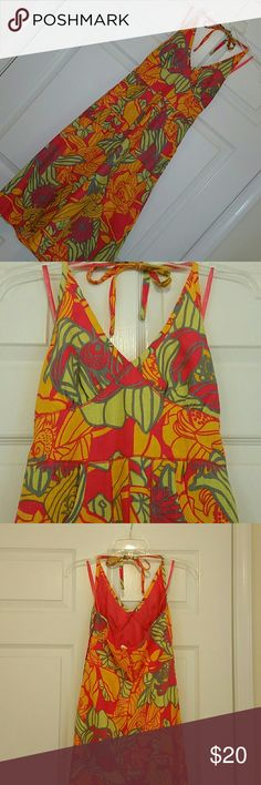 Dress by H&M Beautiful and quite colorful halter dress. Two front pockets. Shell 100% Linen. Lining 100% Polyester. H&M Dresses