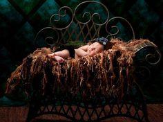 Brown Fringe Photo Prop Blanket Baby Hammock. Medium & Dark 'Chocolate' (Image by Sandy Puc'). Newborn Infant Photography Prop. $95.00, via Etsy.