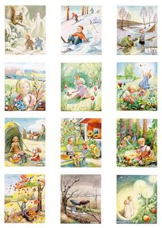 Familjekalender Kerstin Frykstrand by Retro Etc. Elsa Beskow, Educational Activities For Kids, Lego Activities, Printable Pictures, Free To Use Images, Illustration Art, Illustrations, Vintage Pictures, Pre School