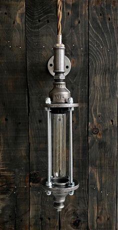 Industrial Bathroom Lighting, Industrial Style Lamps, Vintage Industrial Lighting, Rustic Lighting, Industrial Interiors, Industrial Design, Pipe Lighting, Garage Lighting, Wall Sconce Lighting