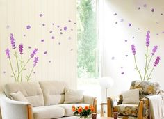 Lavender Pattern Two Tone Concise Removable Wall Sticker