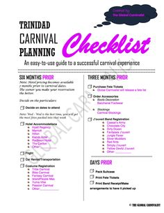 Want to attend Trinidad 2016? Use this checklist #caribbeancarnival #trinidad #carnival #trinidadcarnival