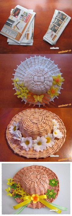 Плетение шляпки из газетных трубочек