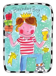 Jarige jongen met cadeautjes en bier- Greetz