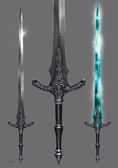 A sword inspired by Bloodborne, Dark Souls and Lord of the Rings. Fantasy Sword, Fantasy Armor, Fantasy Weapons, Medieval Fantasy, Fantasy Katana, Cool Swords, Sword Design, Dark Souls 3, Anime Weapons