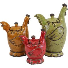 3 Piece Hen Jar Set - I  usually don't like chicken/rooster themes, but these are really unique.