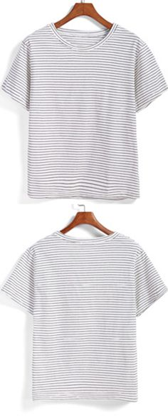 Foever style :Black white stripe .Take a quality crop top in black white stripe with up to 60 % off one piece!Romwe .com