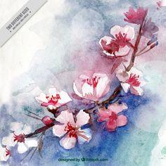 Aquarelle fleurs de cerisier fond Vecteur gratuit