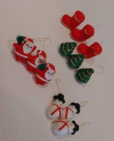 Set of 12 Little Velvet Santa Claus - Christmas Trees - Snowmen - Stockings Handmade Shop, Handmade Items, Handmade Gifts, Santa Claus Christmas Tree, Christmas Ornaments, Snowmen, Frocks, Vintage Christmas, Goodies